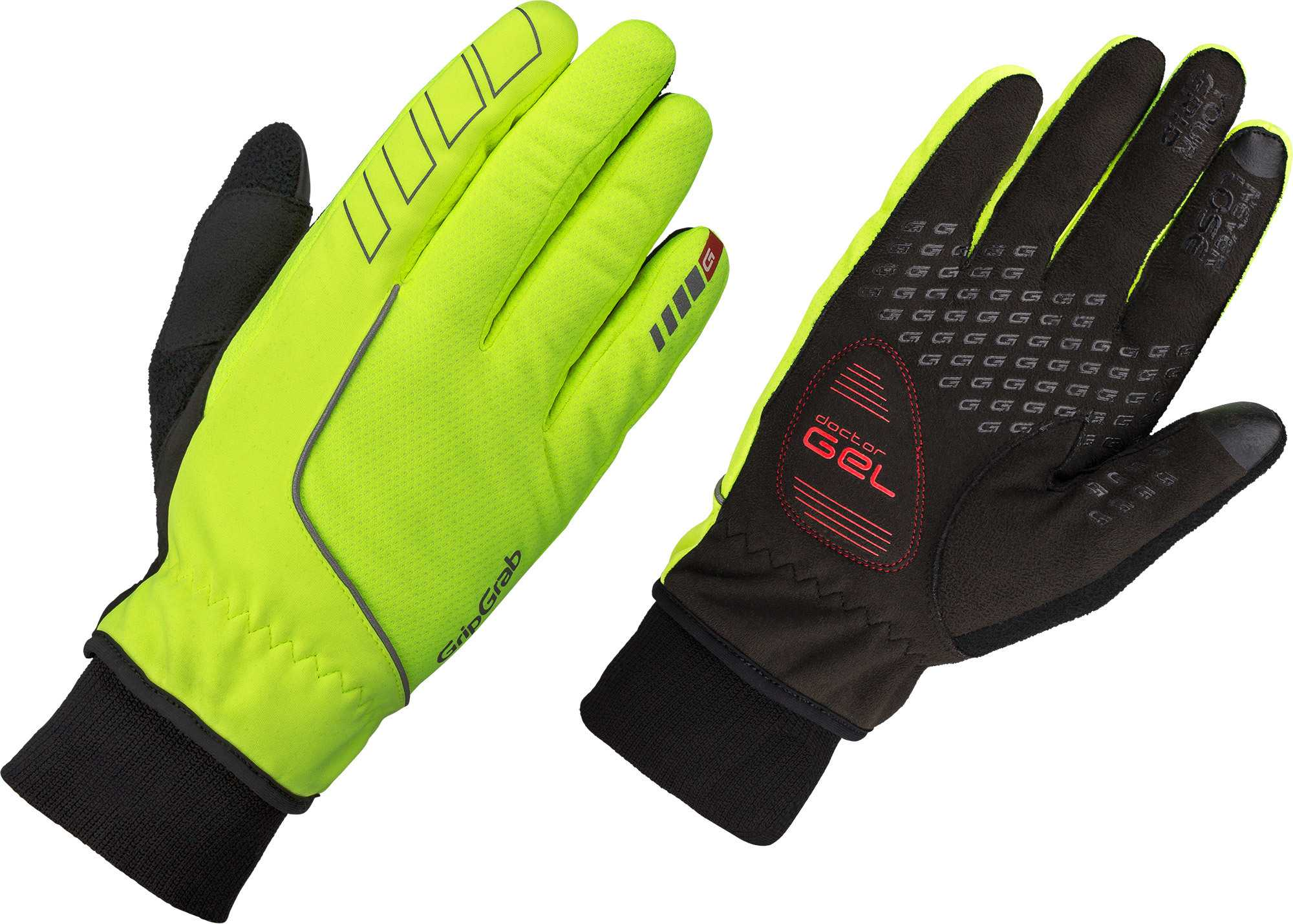 GripGrab Windster Hi-Vis cykelhandsker - Yellow - L. | Gloves