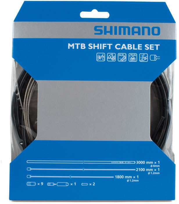 SKIFTEKABELSÆT SHIMANO MOUNTAINBIKE RUSTFRI KABEL SORT | Gear cables
