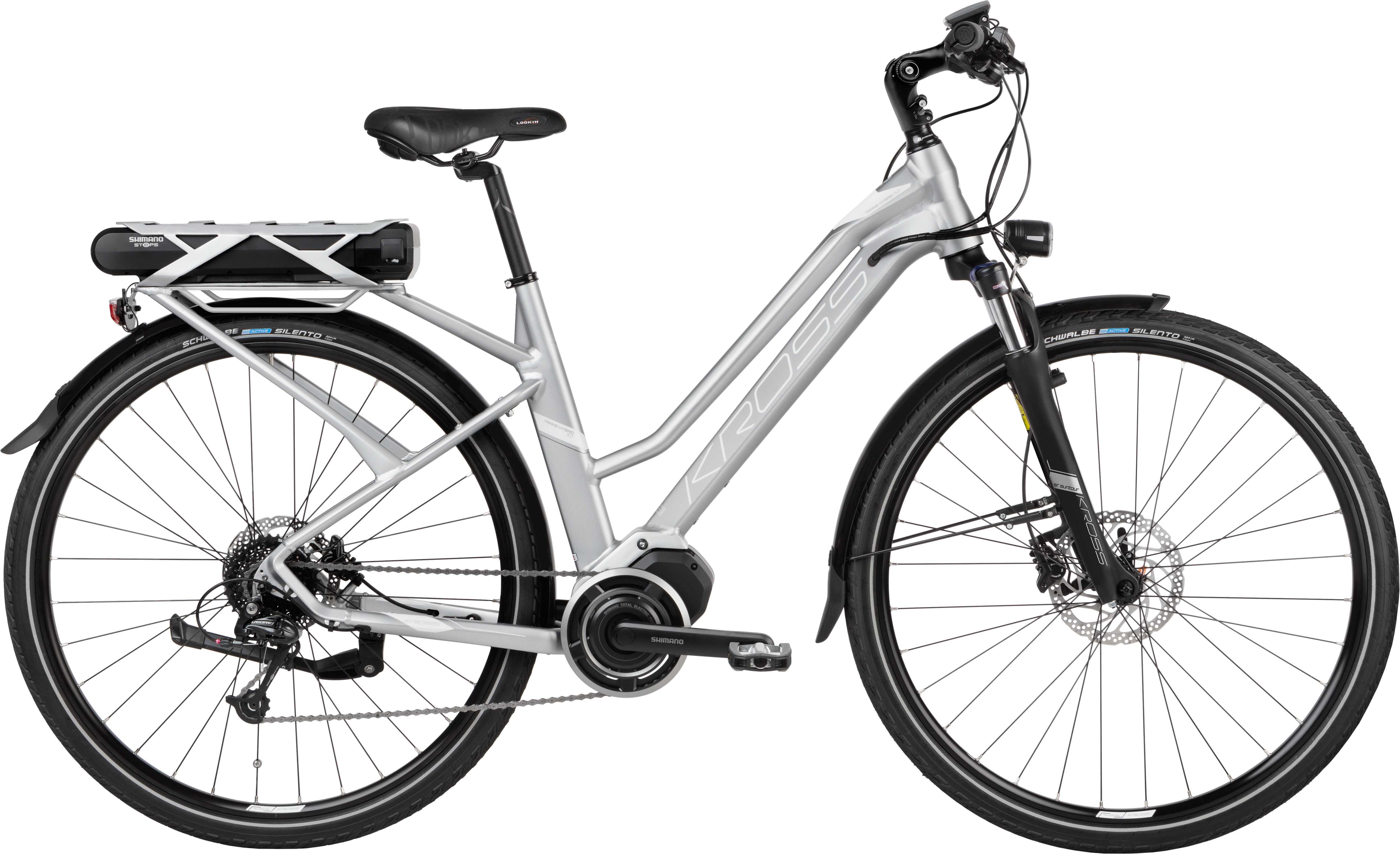 Kross Trans Hybrid 3.0 dam matt silver/vit 43 cm