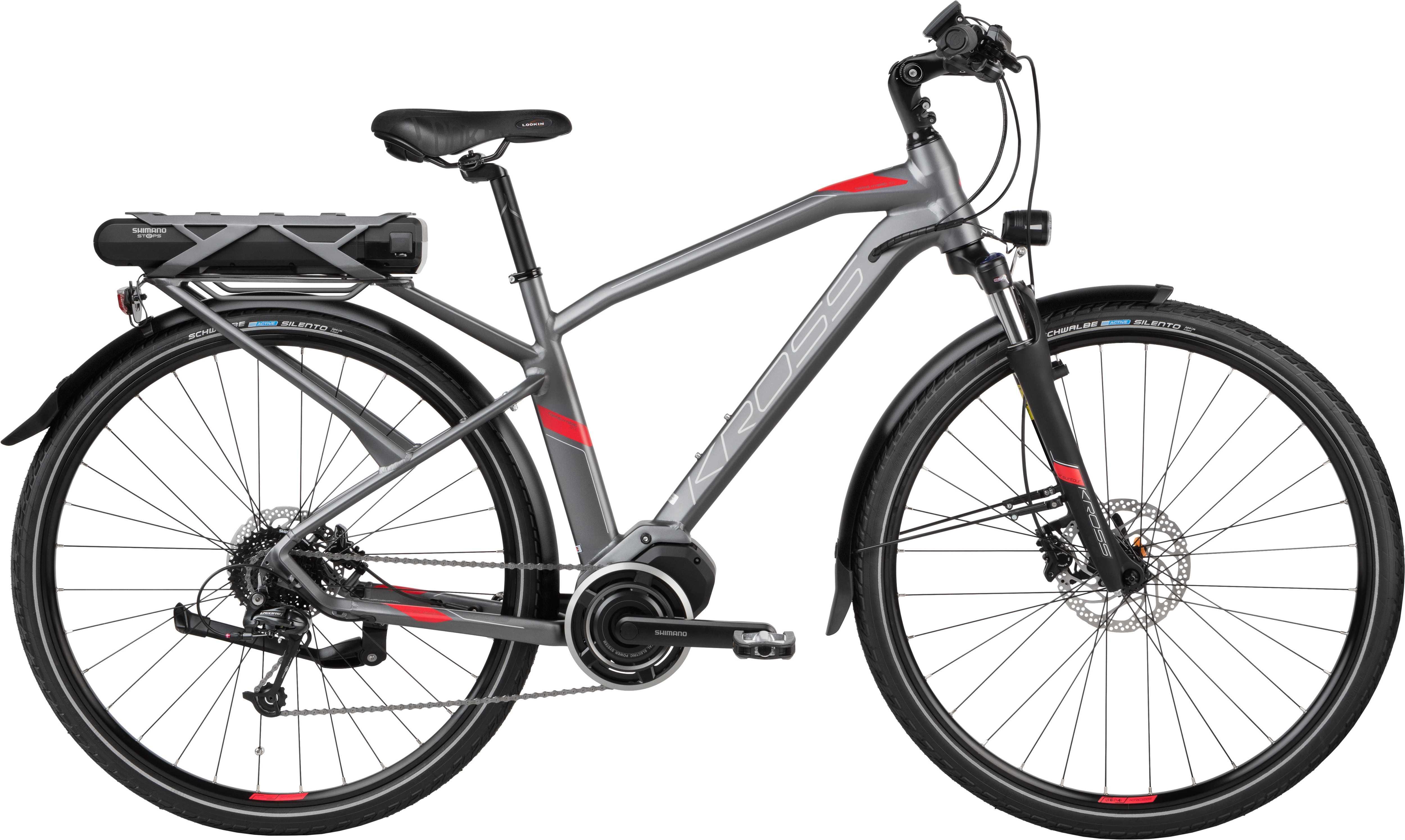 Kross Trans Hybrid 3.0 herr matt graphite/röd 43 cm