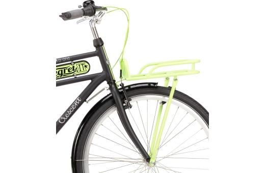 Utrustad med frammonterad pakethållare - OBS cykeln levereras med svart pakethållare