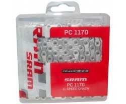 SRAM CHAIN PC-1170 HOLLOW PIN 11 SPEED 120 LINKS NICKEL SILVER OUTER PLATES GREY INDER PLATES