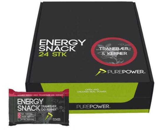 Energibar PurePower Energy Snack 60 g tranbär
