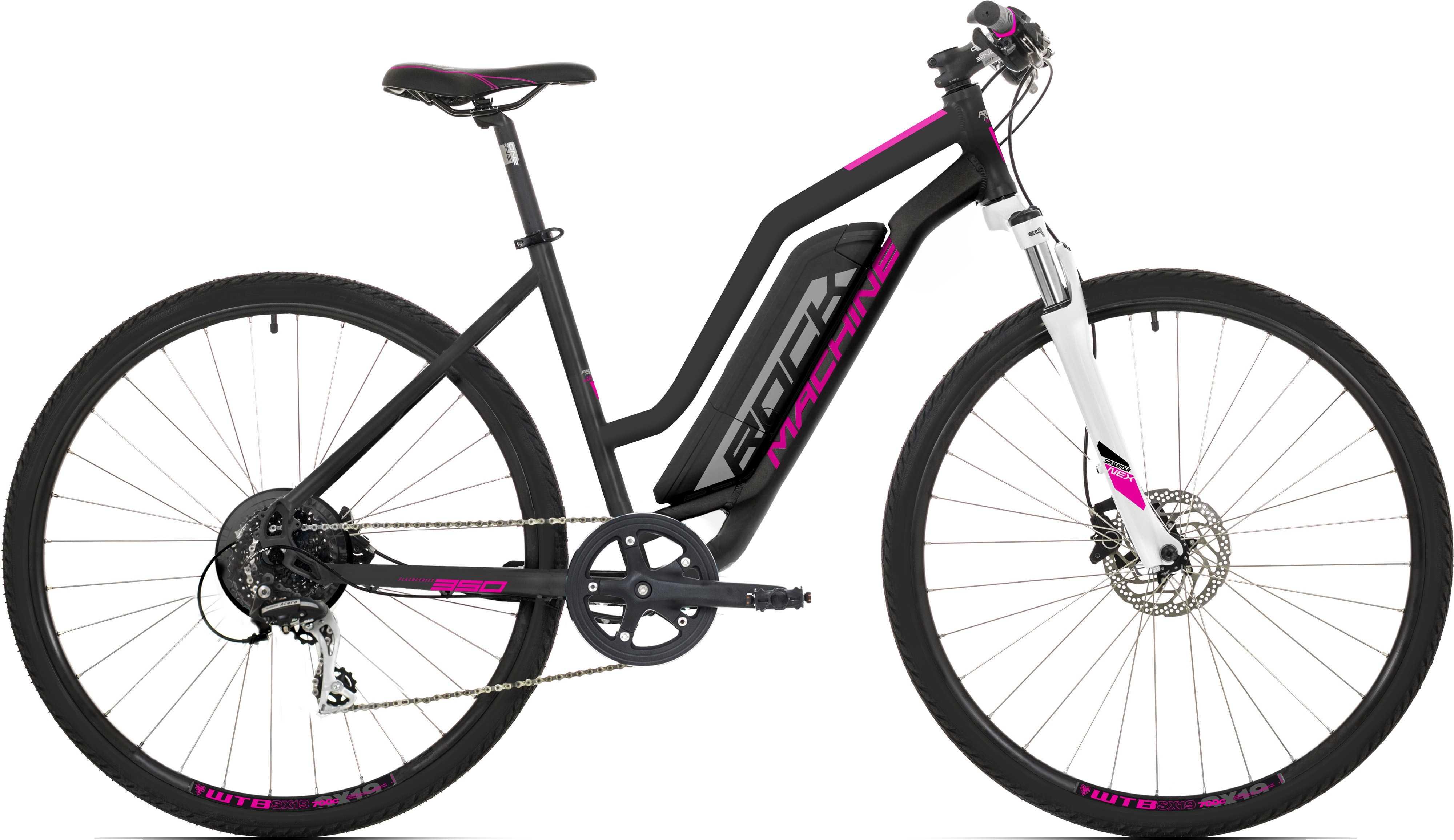 Rock Machine Crossride e350 Lady matt svart/silver/rosa medium
