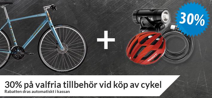 30% på tillbehör vid köp av cykel